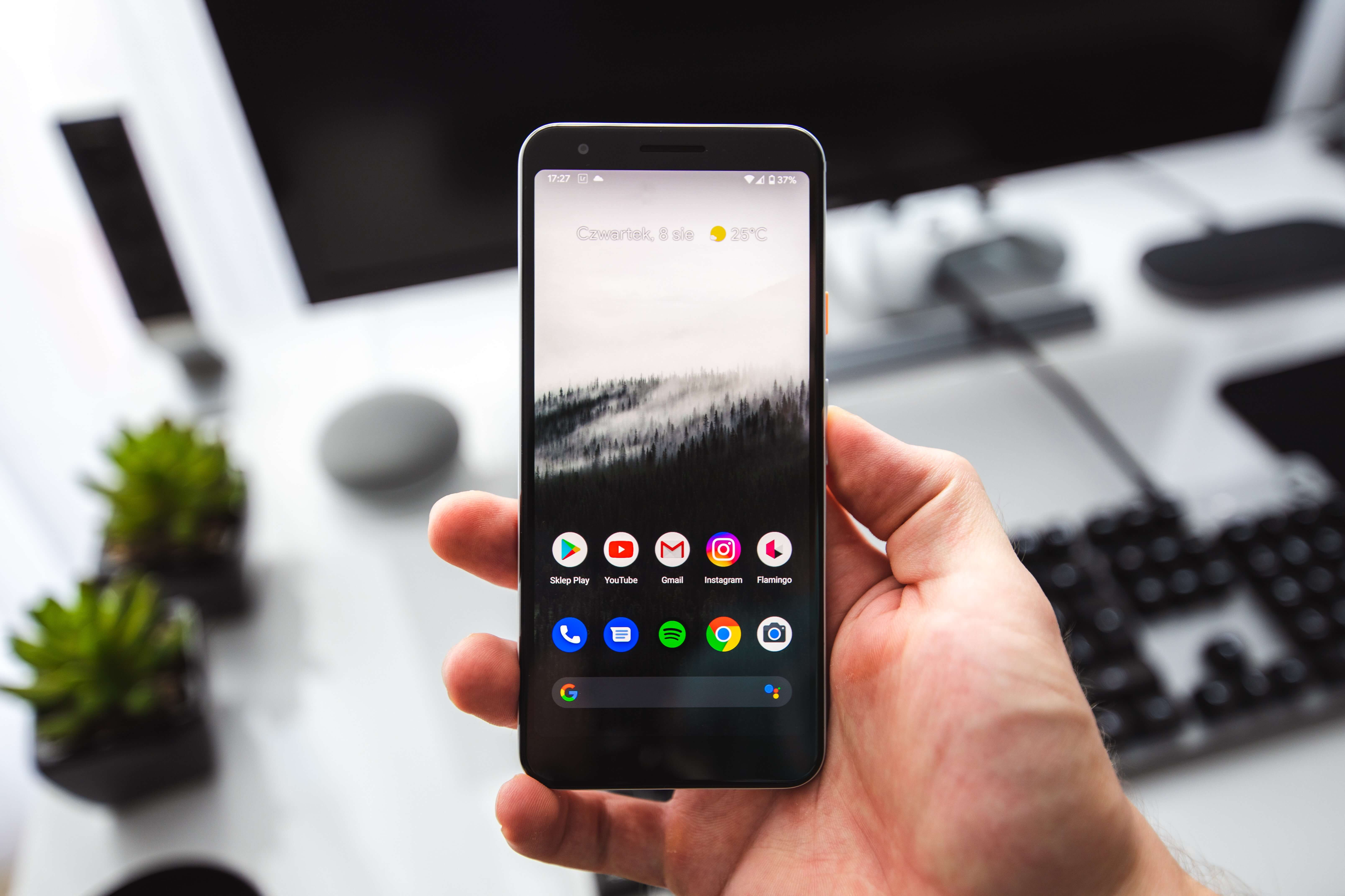 Person holding an android phone
